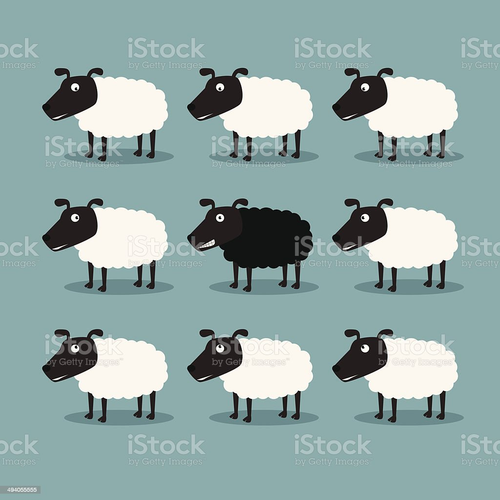White sheep and black sheep White sheep and black sheep Animal stock vector
