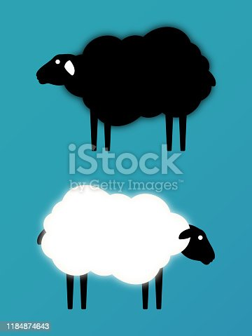 White sheep black sheep cloud shape copy space animals.