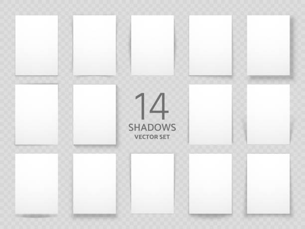 white sheets of paper with different drop shadow effects. vector shadows template for posters and background decoration - тень stock illustrations
