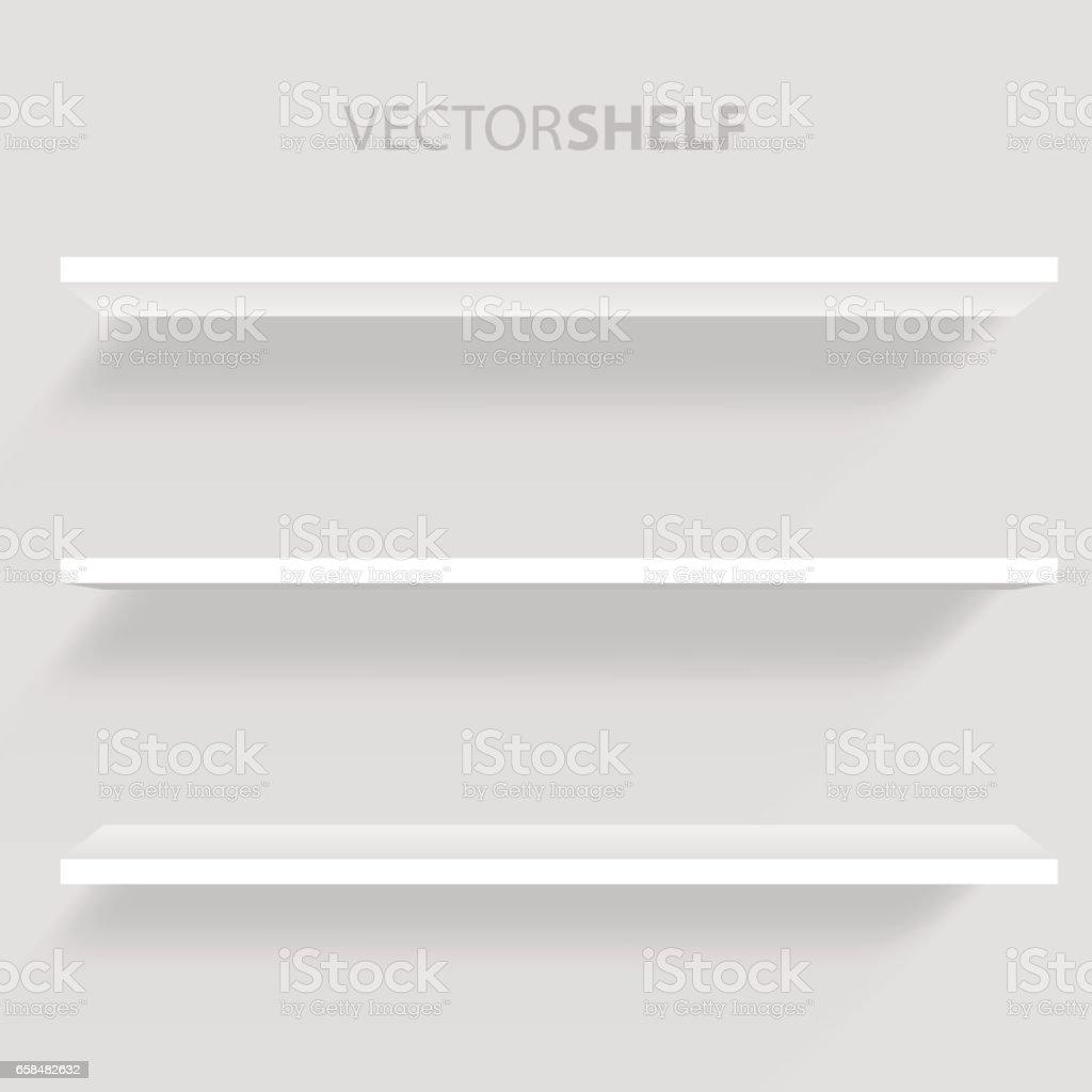 White Shelf in gray background vector illustration.