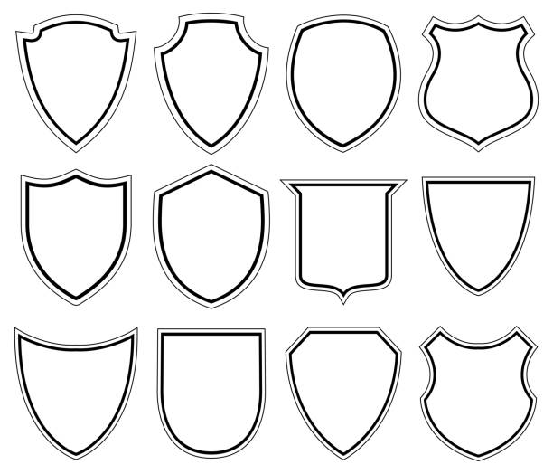 white shield icons - illustration - coat of arms stock illustrations, clip art, cartoons, & icons