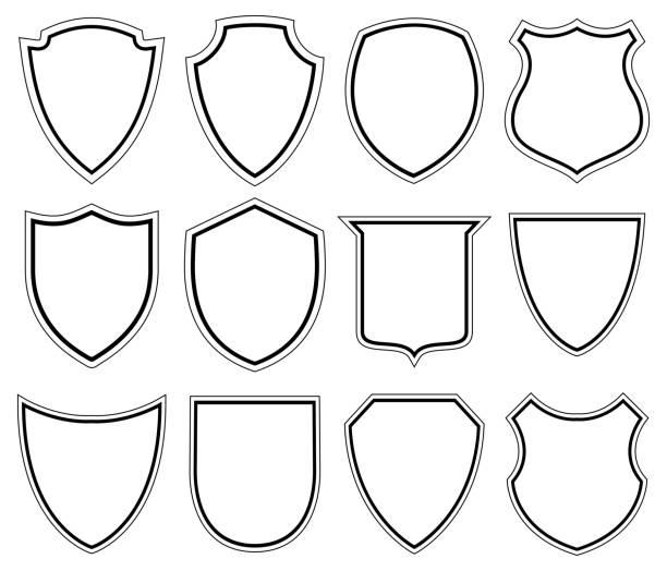 weiße schild-symbole-illustration - wappen stock-grafiken, -clipart, -cartoons und -symbole