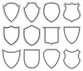 White Shield icons - Illustration