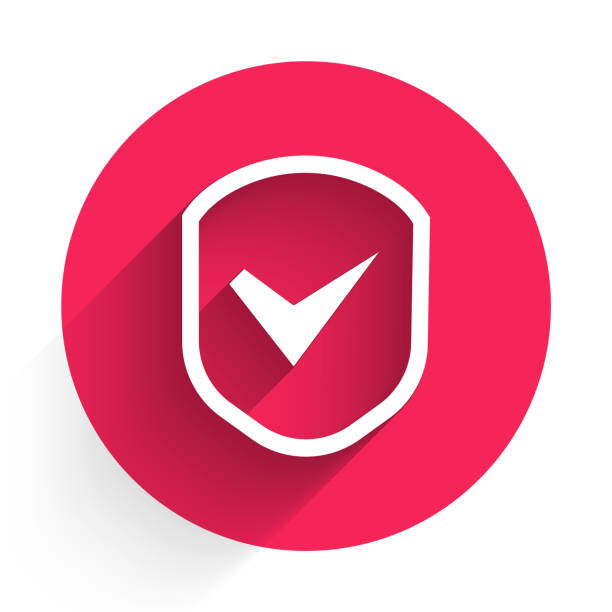 White Shield with check mark icon isolated with long shadow. Security, safety, protection, privacy concept. Tick mark approved. Red circle button. Vector Illustration White Shield with check mark icon isolated with long shadow. Security, safety, protection, privacy concept. Tick mark approved. Red circle button. Vector Illustration antivirus software stock illustrations