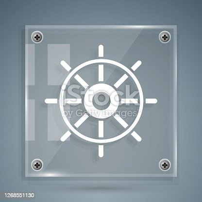 istock White Ship steering wheel icon isolated on grey background. Square glass panels. Vector Illustration 1268551130