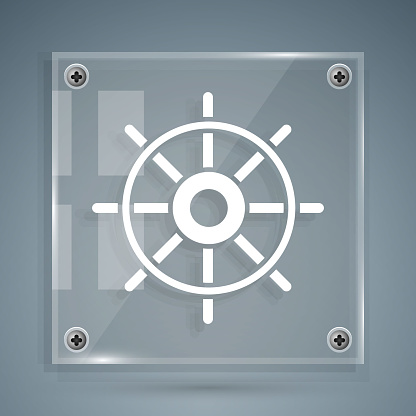 White Ship steering wheel icon isolated on grey background. Square glass panels. Vector Illustration