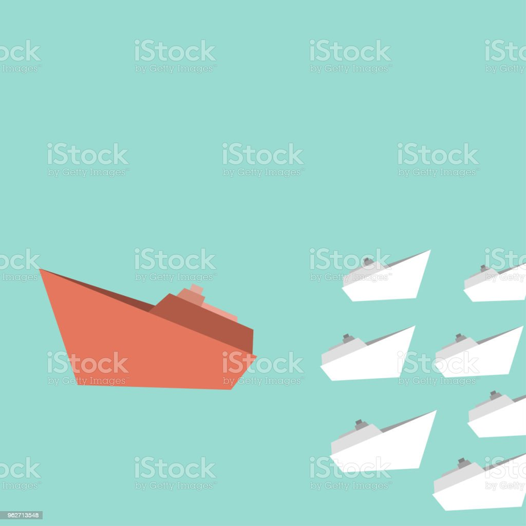 white ships and one big red ship changing direction, change management, business concept vector art illustration