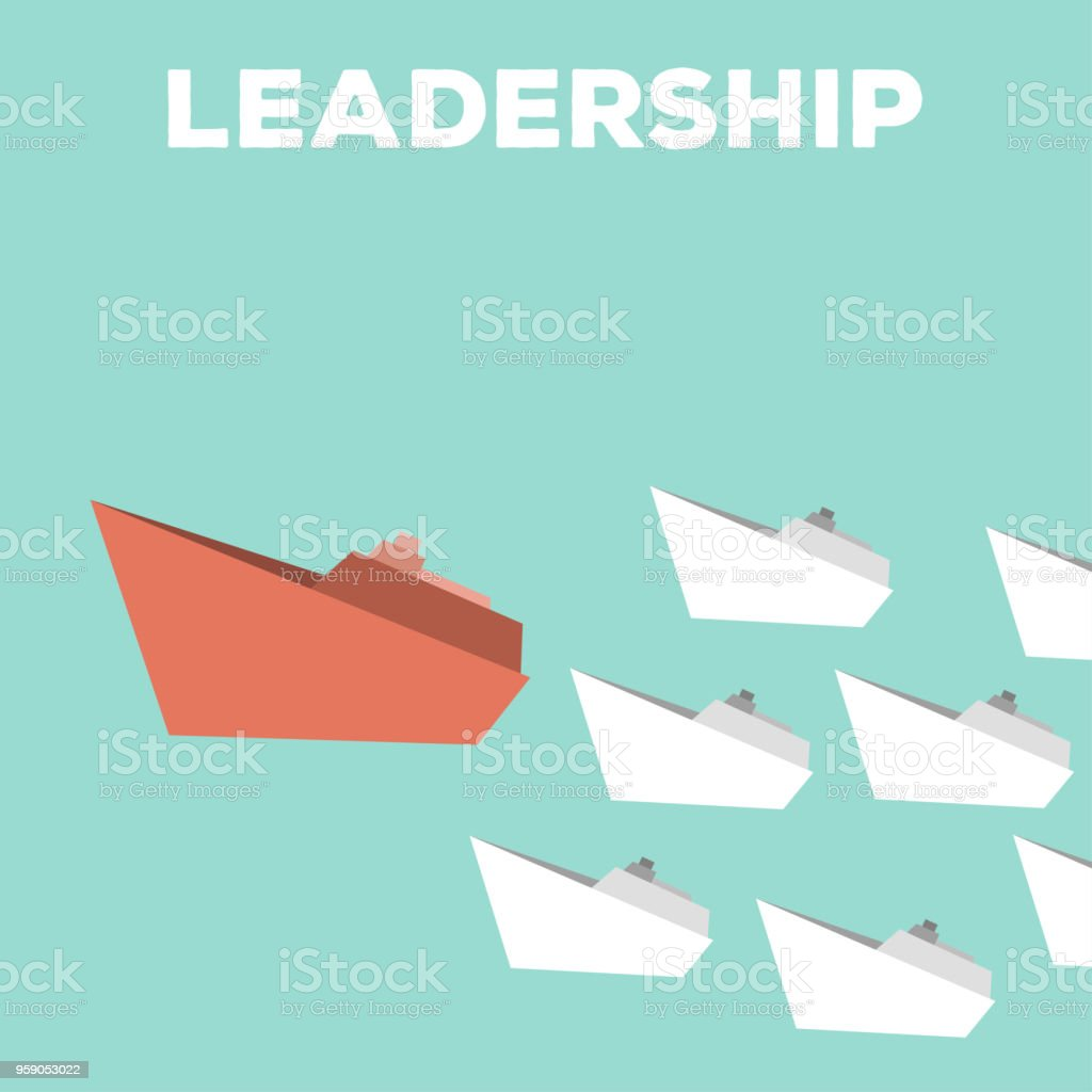 white ships and one big red ship, leadership business concept vector art illustration