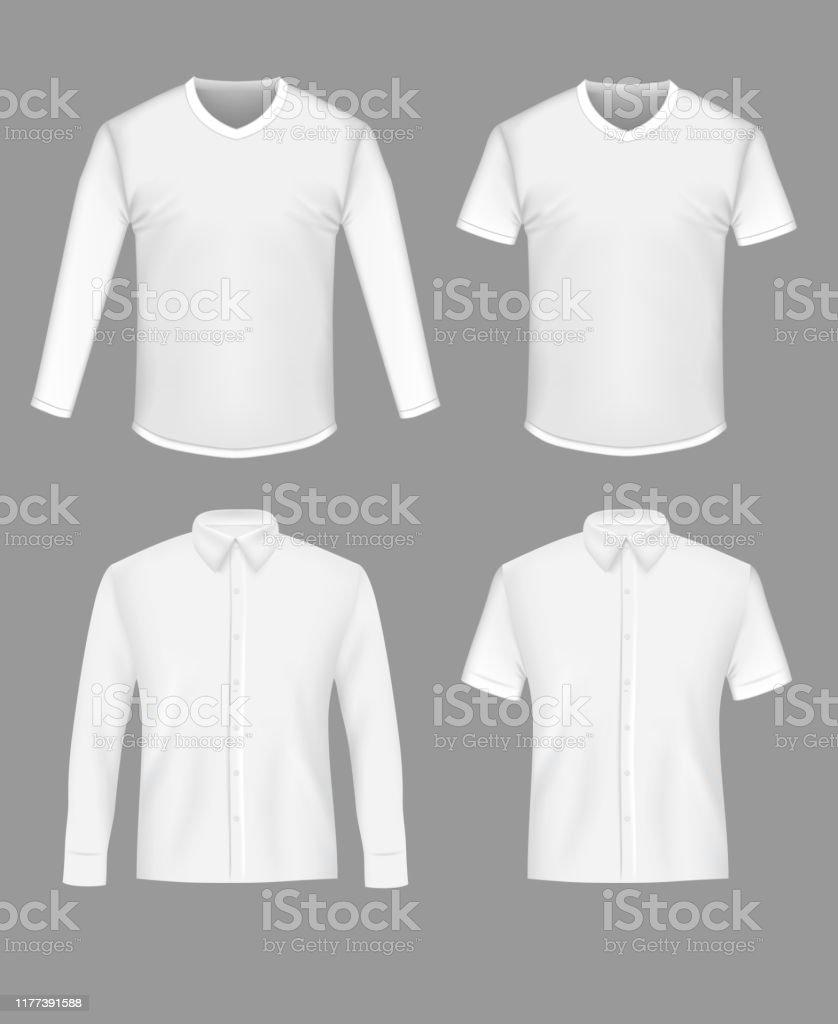 White Shirt And Tshirt Mockup Set Vector Illustration Stock