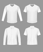 White shirt and t-shirt mockup set, vector isolated illustration. Mens realistic clothing front side template.