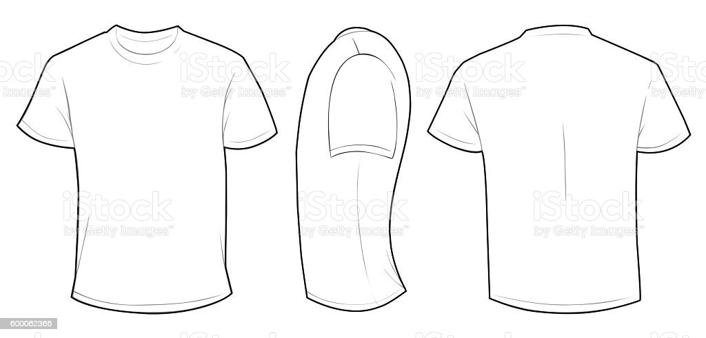White t-shirts template set isolated, hand drawn tee shirts.