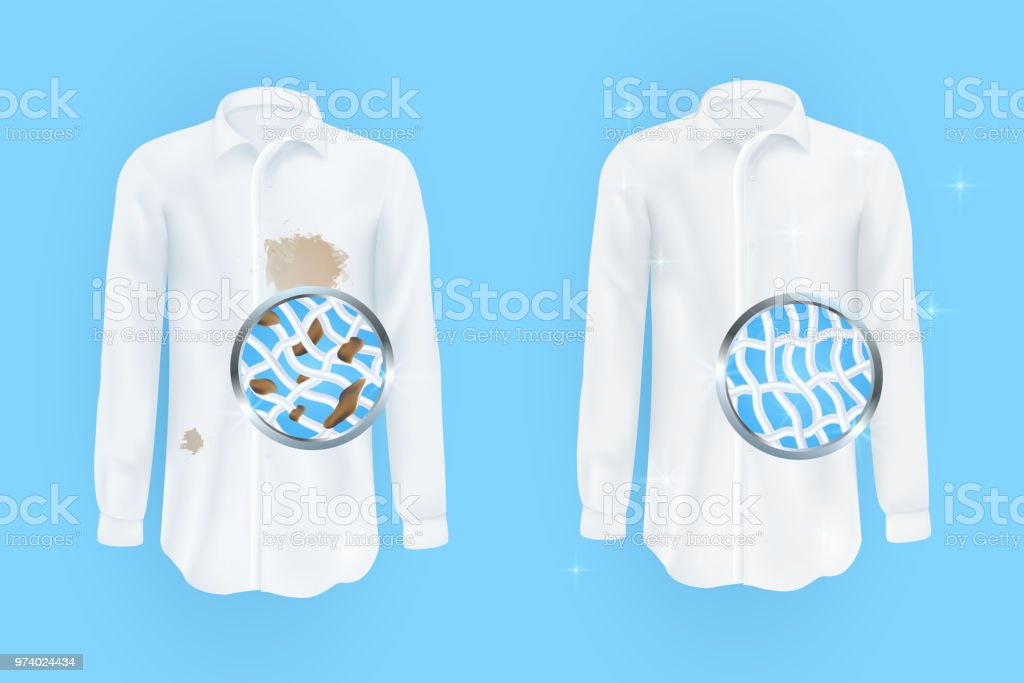 white shirt with dirty brown spots and clean on blue background vector art illustration