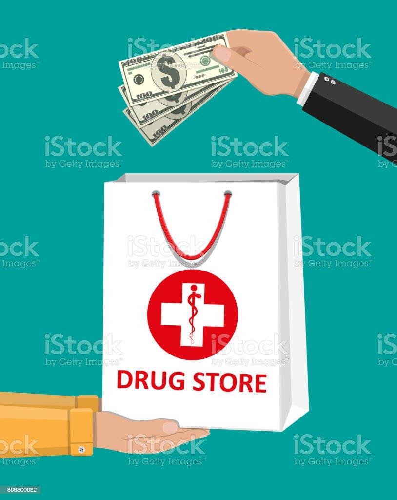 White shopping bag for medical pills and bottles vector art illustration