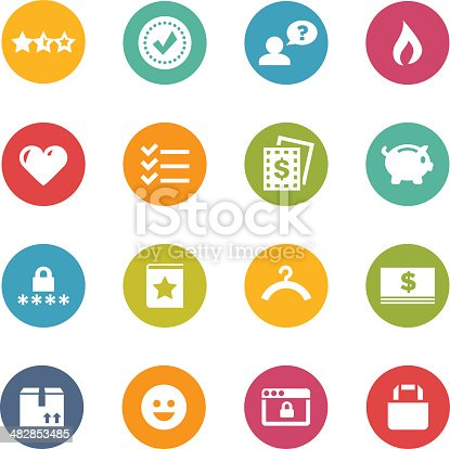 Professional shopping icons for a website, application or presentation.  There are 16 icons, with four in each row, varying in colors.  All icons are positioned on top of a circle shape.  The collection includes three stars, a check sign in a circle, a man with a pop-up bubble question mark, a fire sign, a heart, three check signs next to three lines, an out of frame dollar sign, a piggy bank, a lock with four stars underneath it, a star, a hanger, a dollar sign, two arrows up, a smiley face, a lock within a frame and a lock.  The background is white.