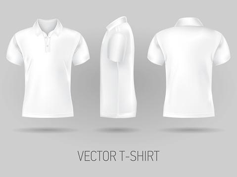 white short sleeve polo shirt design templates. vector mock up