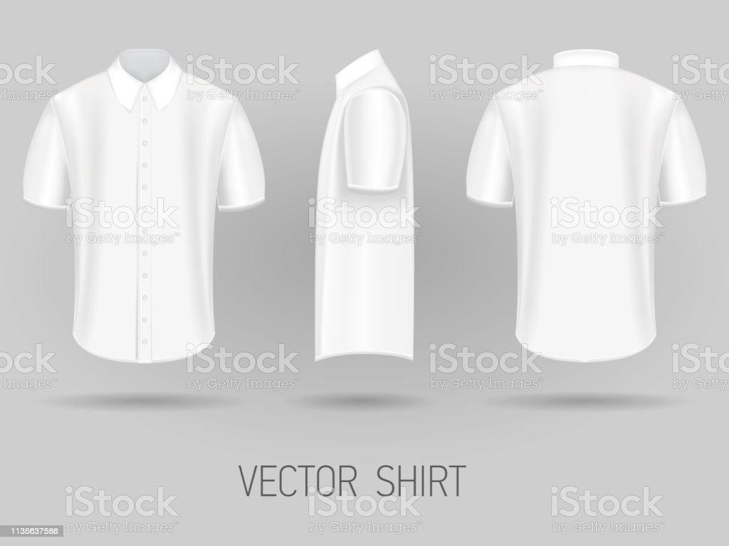White Short Sleeve Shirt Design Templates Vector Mock Up Stock