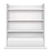 White Showcase wiyh Empty Shelves
