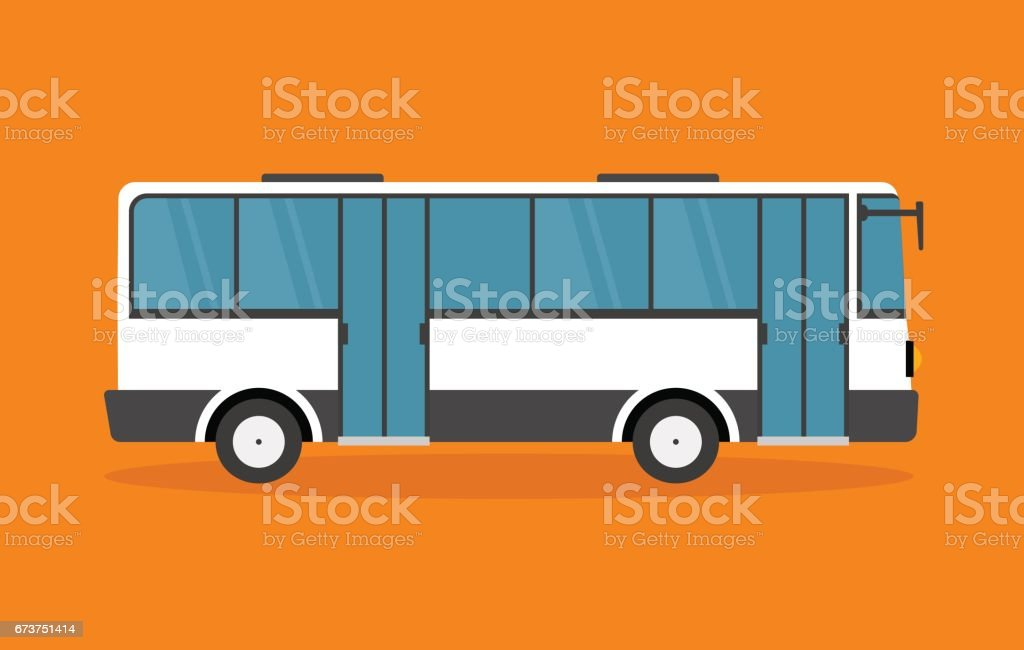 White Shuttle Bus - Illustration - illustrazione arte vettoriale