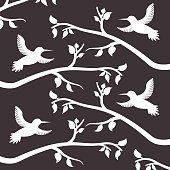 white silhouette birds and branches tree decoration pattern vector illustration