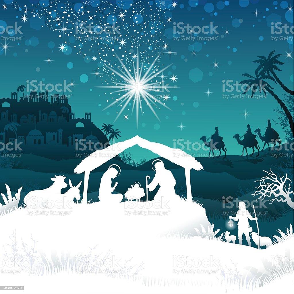 White silhouette nativity scene on Bethlehem vector art illustration