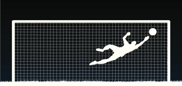White silhouette of a soccer player with ball and net