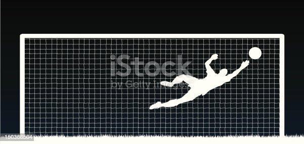 Editable vector illustration of a soccer goalkeeper making a save. Hi-res jpeg file included.