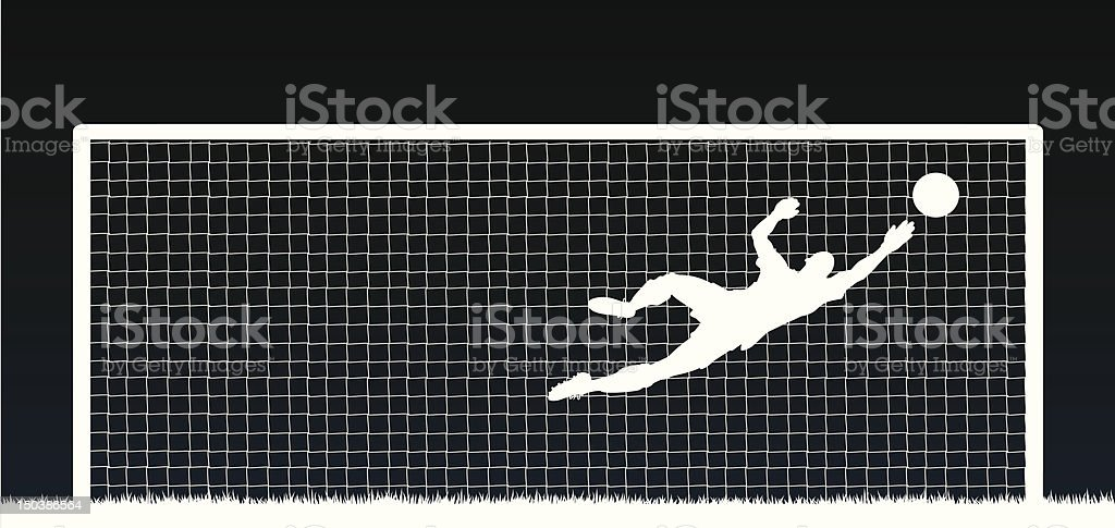 White silhouette of a soccer player with ball and net vector art illustration