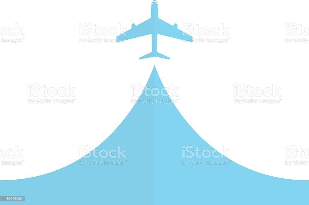 white silhouette of airplane vector art illustration
