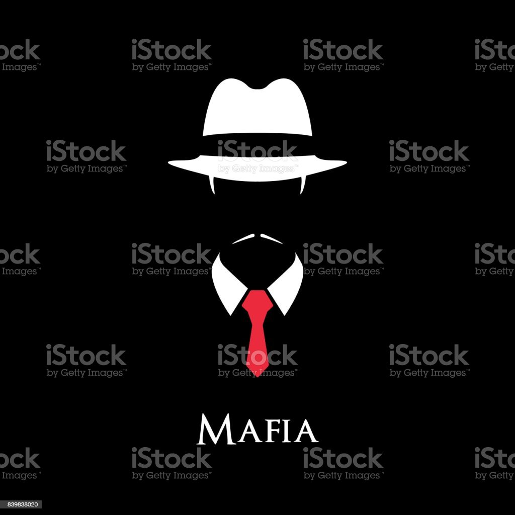 White Silhouette of an Italian Mafia with a red tie on a black background. vector art illustration