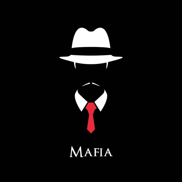 white silhouette of an italian mafia with a red tie on a black background. - gangster stock illustrations, clip art, cartoons, & icons