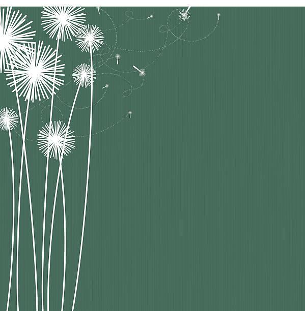 White silhouette of dandelions on green background vector art illustration