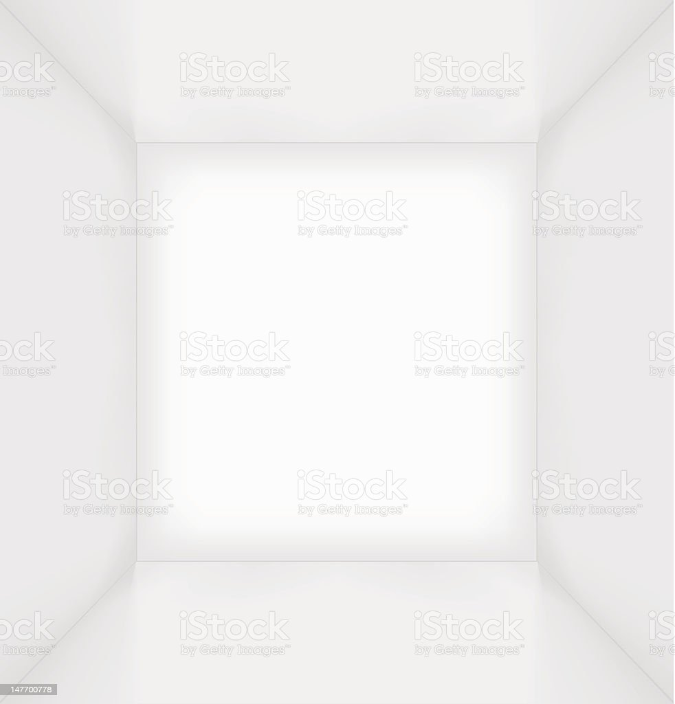White simple empty room interior vector art illustration