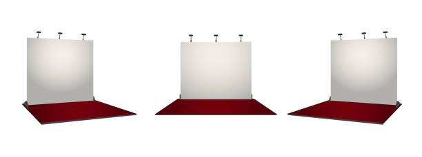 weiße einfache messebau stand-design. unternehmensidentität conecpt. vektor-illustration. - ausstellungstische stock-grafiken, -clipart, -cartoons und -symbole