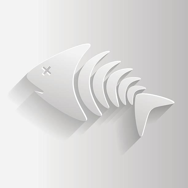 ホワイトのスケルトン魚 - 魚の骨点のイラスト素材/クリップアート素材/マンガ素材/アイコン素材
