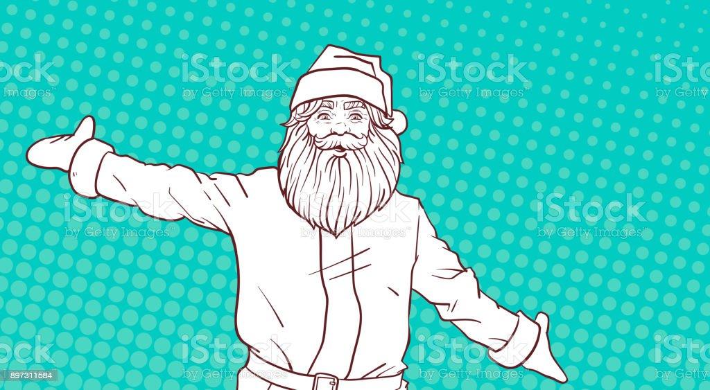 Sketch Blanc Du Père Noël Sur Affiche De Noël Pour Le Comique Fond ...