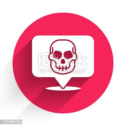 istock White Skull icon isolated with long shadow. Happy Halloween party. Red circle button. Vector 1271984204