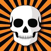 White skull on black orange beams