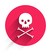 istock White Skull on crossbones icon isolated with long shadow. Red circle button. Vector Illustration 1266091981