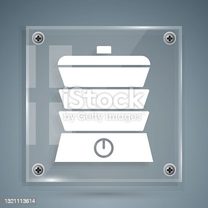 istock White Slow cooker icon isolated on grey background. Electric pan. Square glass panels. Vector 1321113614