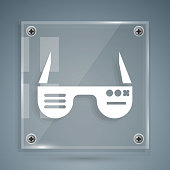 istock White Smart glasses mounted on spectacles icon isolated on grey background. Wearable electronics smart glasses with camera and display. Square glass panels. Vector Illustration 1270644042
