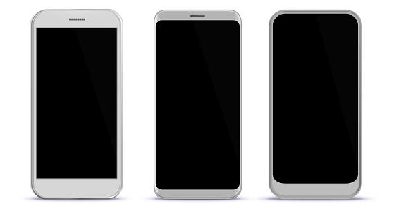 White Smart Phones Vector Illustration