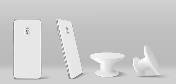 White smartphone back and pop socket holder
