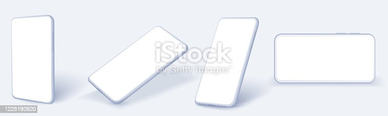 White Smartphone frame less blank screen, rotated position. Smartphone from different angles. Smart device collection with thin frame and blank screen isolated.