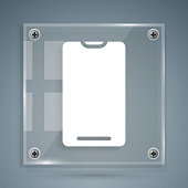 istock White Smartphone, mobile phone icon isolated on grey background. Square glass panels. Vector Illustration 1266097958