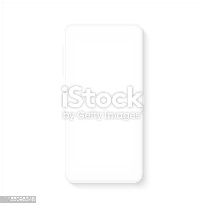 White smartphone mockup. Realistic blank mobile phone template for UI testing or business presentation. Vector empty silhouette cellphone