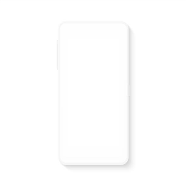 White smartphone mockup. Realistic blank mobile phone template for UI testing or business presentation. Vector empty cellphone White smartphone mockup. Realistic blank mobile phone template for UI testing or business presentation. Vector empty silhouette cellphone white color stock illustrations
