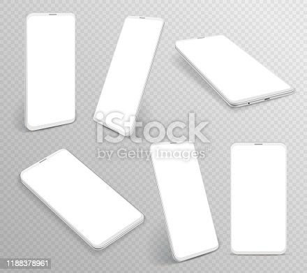 White smartphone. Realistic 3d cellphone in different angles views, frameless blank mobile phones modern device template, vector side perspective cell mockups