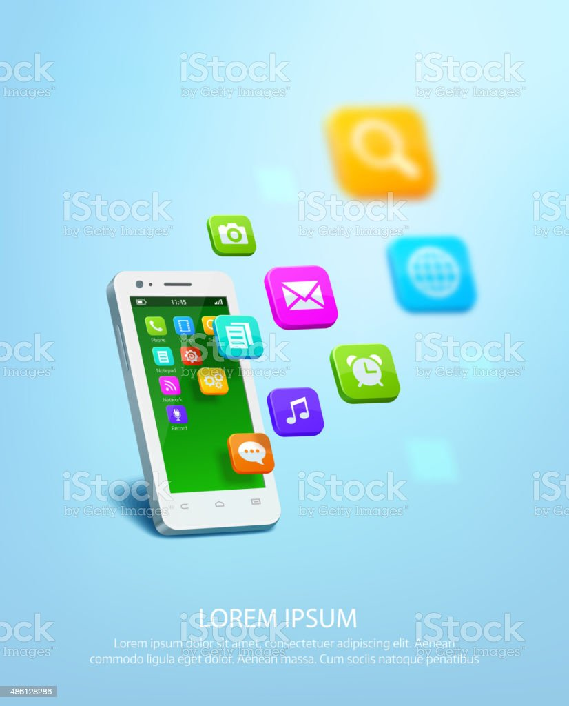 White smartphone with cloud of application colorful icons vector art illustration