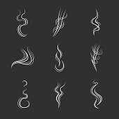 White smoke lines on black background. Vector set
