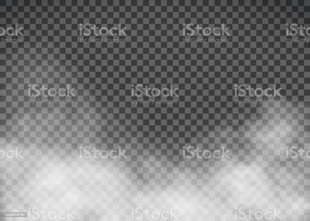 Beyaz şeffaf bir arka plan üzerinde duman. Şablon sis. vektör sanat illüstrasyonu